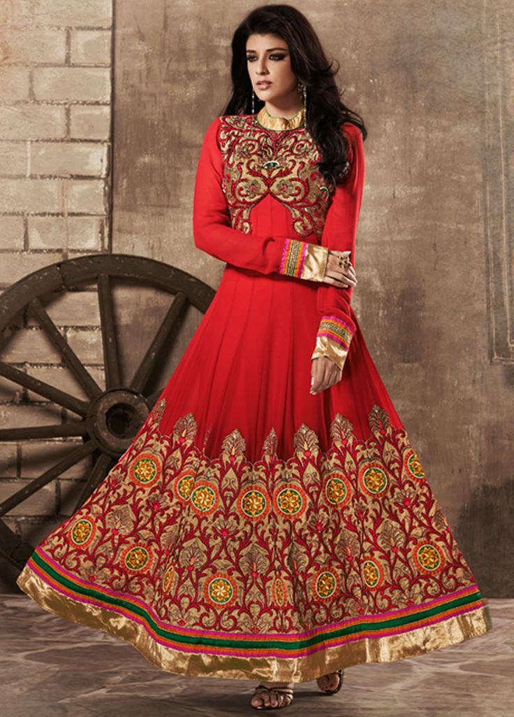 Red Colour Anarkali Net Partywear Suit with Diamond work.