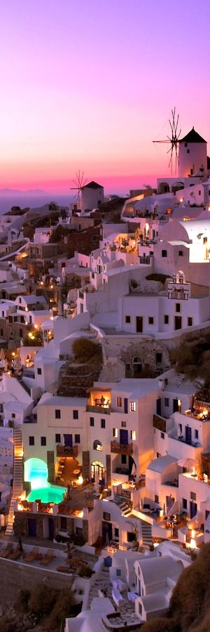 SANTORINI in GREECE  ••• The Fira capital, clinging to the top of the cliff, looking at the lagoon. These volcanic rocks present from eruptions have olivine and have little presence of amphibol. #by admin