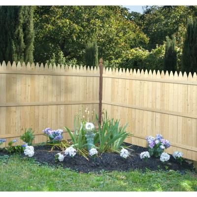 $34.97: 6 ft. x 8 ft. Spruce Pine Fir 4 in. Moulded Stockade Fence Panel-73000408 - The Home Depot