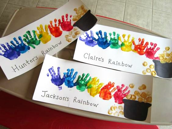 Handprint rainbow crafts to do with kids for St. Patrick's day