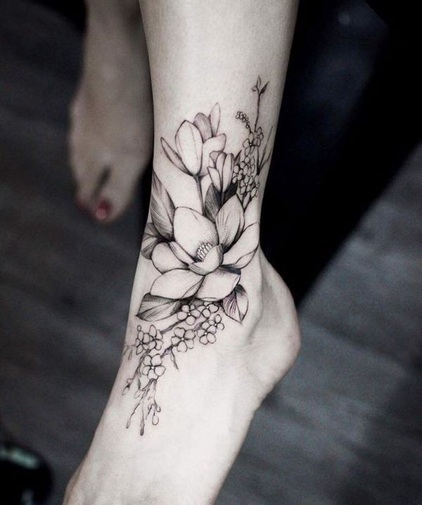 flower tattoos ideas ankle and foot designs  #tattoos #women #design
