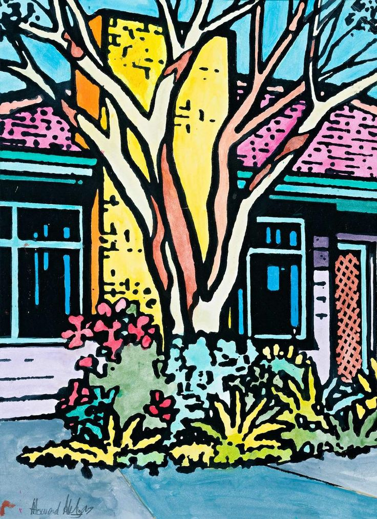 'House with Native Tree' - Suburbia Series of paintings. Artwork by Howard Arkley - Australian Aerosol Artists 1951-99.