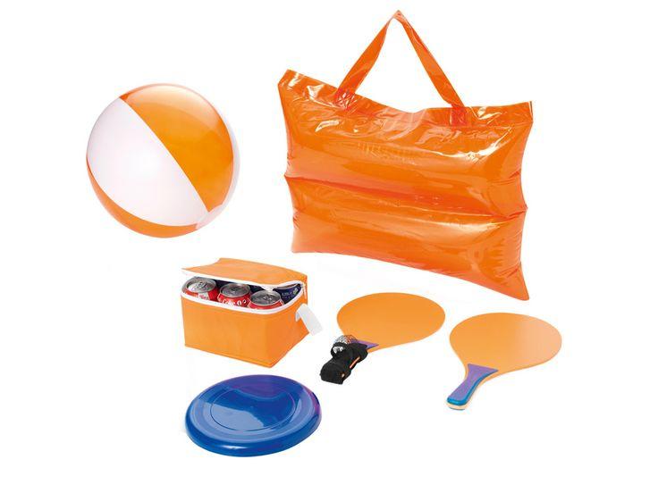 """Набор пляжный """"Railay"""" Пляжный набор «Виесте» – отличный подарок к отпуску! В комплект входят: сумка-холодильник для 6 банок, пляжный мяч, летающая тарелка, ракетки для пинг-понга и надувная сумка-подушка. Все пляжные развлечения в одном наборе!"""