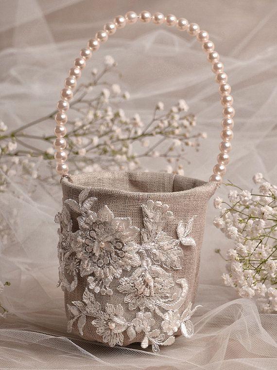 Flower Girl Basket & Ring Bearer Pillow Set by 4invitationwedding