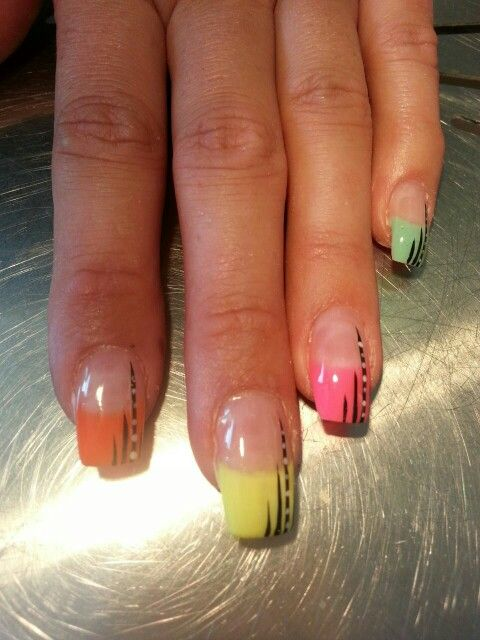 Different colours with nail art