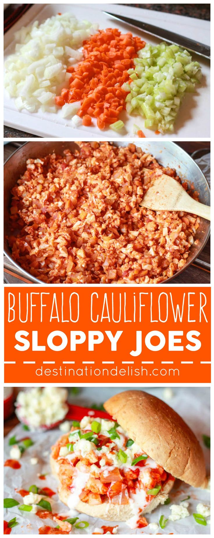 Buffalo Cauliflower Sloppy Joes - A healthy and meatless buffalo-wing inspired recipe made with cauliflower, onions, carrots, and celery