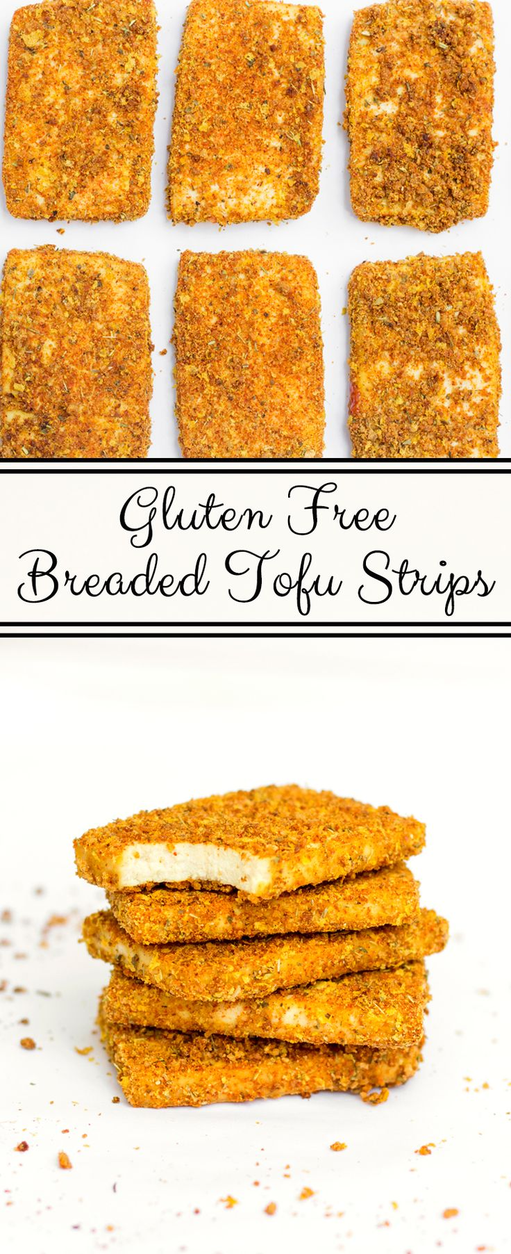 Thick tofu strips, seasoned and breaded to perfection for a crispy texture similar to what you'd get from a chicken strip. #vegan #glutenfree #recipe