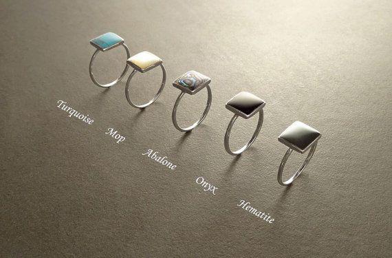 Anillos de apilamiento plata esterlina anillo pequeño par KRAMIKE