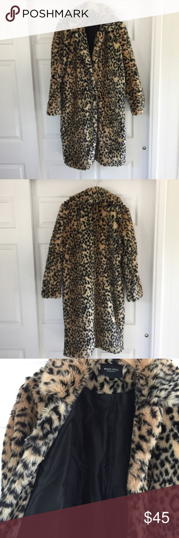 Leopard Faux Fur Coat Purchased from Asos but brand is Brave Soul. Long faux fur coat with pockets and snap closures up the front. Excellent condition, only worn once. Length 39 inches Asos Jackets & Coats
