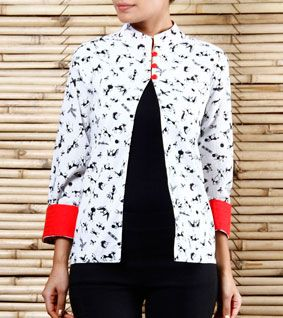 White Block Printed Cotton Jacket