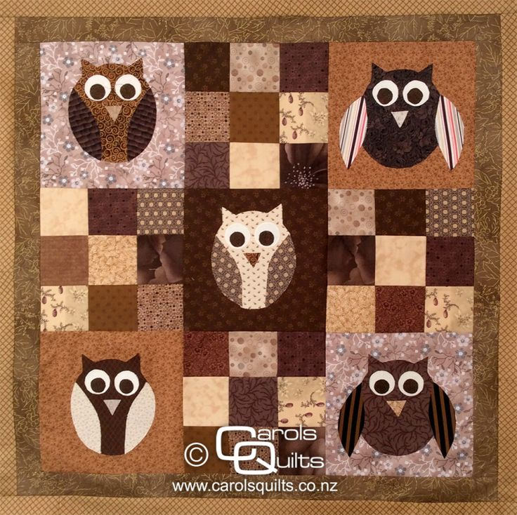 SO pretty! Love the choice of colours. carolsquilts brown #owl #quilt
