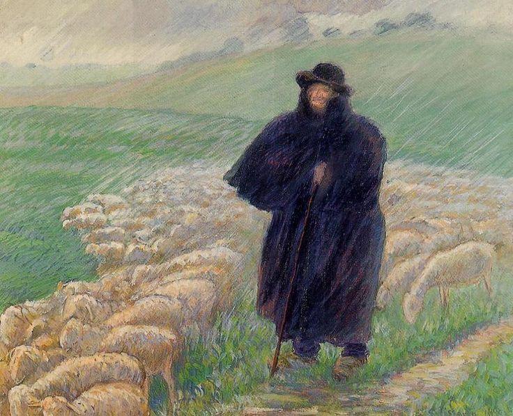 Shepherd em uma Downpour, têmpera Camille Pissarro (1830-1903, Ilhas Virgens)