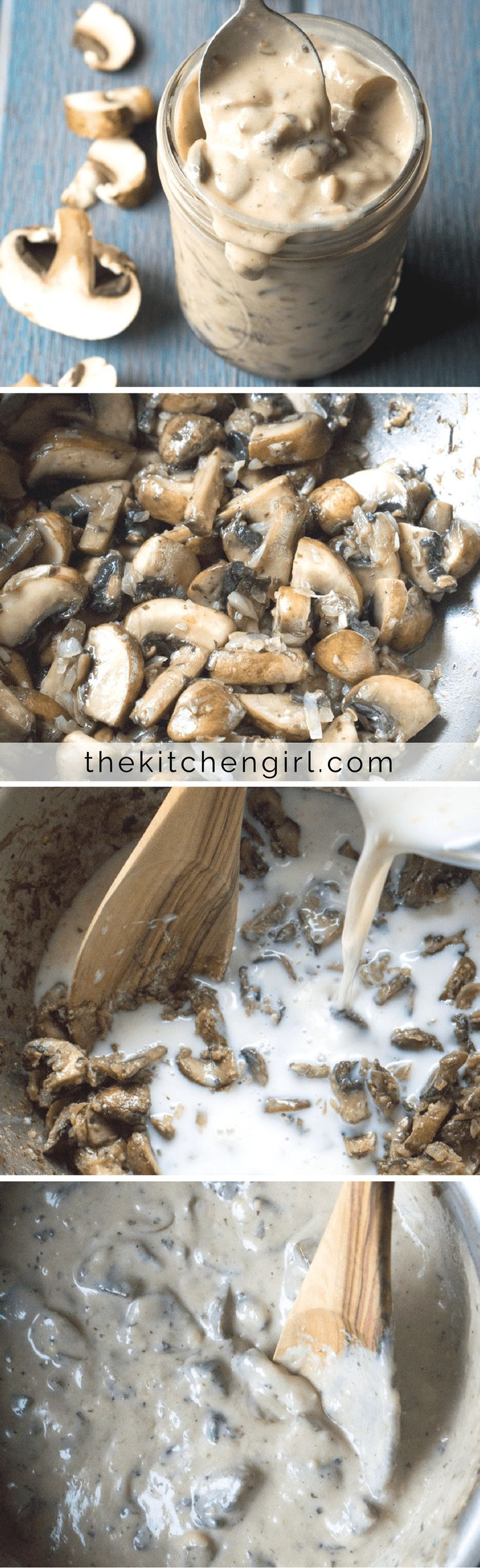You really WON'T believe it's vegan Cream of Mushroom Soup! Easy, creamy, perfect for gravy, casserole, pasta, and creamy soups. Low-salt, low fat, & gluten free! thekitchengirl.com