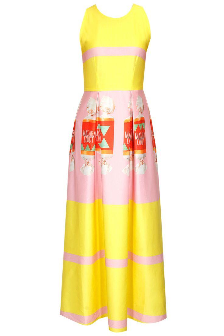 Pink and yellow 'Masaba' candy print flounce dress by Masaba.     Shop now:  http://www.perniaspopupshop.com/designers/masaba    #shopnow #perniaspopupshop #masaba