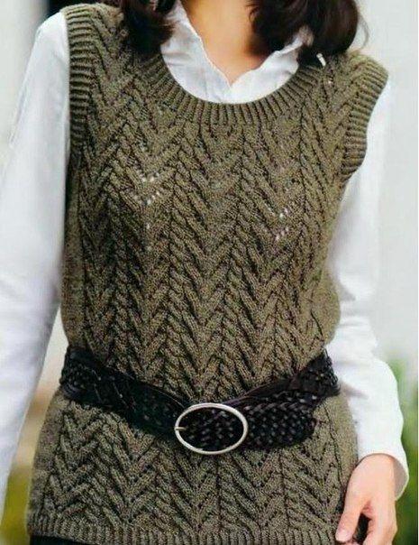 Chalecos tejidos a dos agujas para mujer - Imagui