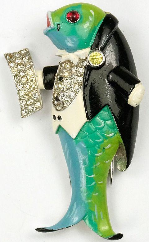 Trifari 'Joseph Wuyts' Pave and Enamel Opera Singing Fish Pin Clip