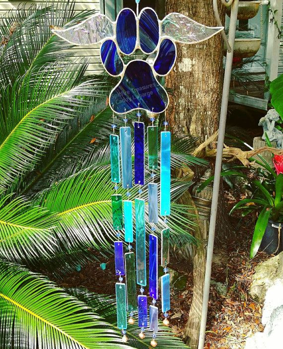 Royal blue, stained glass dog, cat, paw print with angel ...