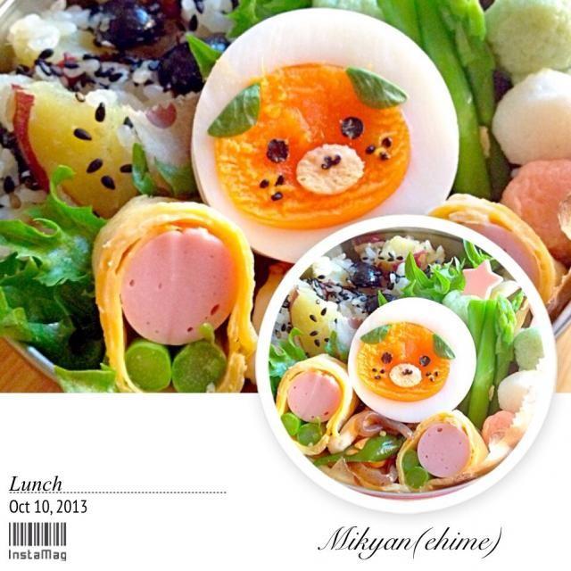 おはよう♪ 愛媛県のゆるキャラ「みきゃん」( ̄▽ ̄) やっぱり何かが違うーww なんで? 愛媛の皆さんごめんなさい(´・_・`) サツマイモと蒸し黒豆の炊き込みご飯、棒ギョウザ、コンニャク金平、ミニ串天、魚肉ソーセージのお花、ゆで卵♪ - 116件のもぐもぐ - JK1のお弁当(炊き込みご飯♡) by srisnom