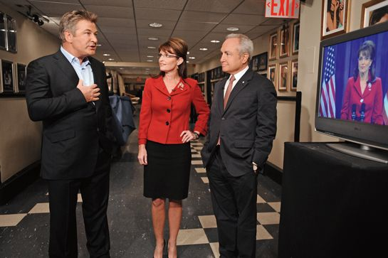 Tina Fey at her best!  7 Behind-The-Scenes SNL Photos That Will Make You Cry   http://www.refinery29.com/2015/02/82208/snl-40th-anniversary-backstage-photos#slide-1  Awkward... Sarah Palin hangs backstage with Alec Baldwin and Lorne Michaels as Tina Fey appears on-screen.