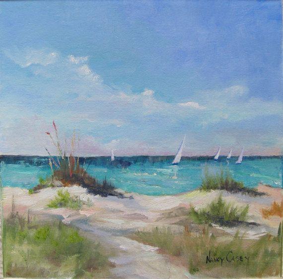 Pintura al óleo, veleros, paisaje marino de la playa y el océano, dunas, pastos, mar y cielo.  Llano hecho original aire 14 x 14 pulgadas.  Vibrante.