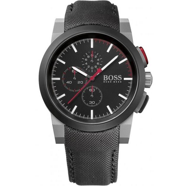 Hugo+Boss+Chronograph+Black+Stainless+Steel+Fabric+Strap+1512979