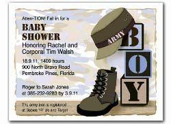 Military Theme Baby Shower - Invitation