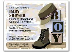 Military Theme Baby Shower - Invitation
