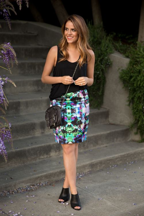 Return of the Skirt - easy black top, pop of design and color in the skirt, simple wedges