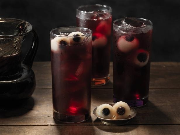 Eyeballs made with blueberries and lychee fruit.