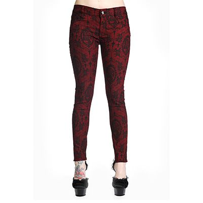 Size S http://www.attitudeholland.nl/haar/kleding/broeken/skinny-fit/skinny-jeans-met-cameo-schedel-en-orname/ Skinny jeans met cameo schedel en ornamenten kruizen rozen print rood