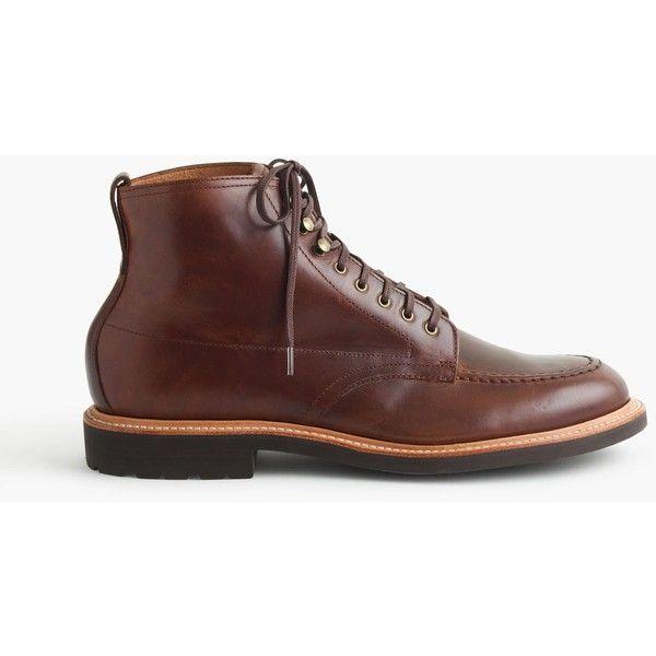 J.Crew Kenton Leather Pacer Boots ($248) via Polyvore featuring men's fashion, men's shoes, men's boots, men's work boots, mens fur lined boots, mens leather boots, mens leather work boots, j crew mens boots and mens leather fur lined boots