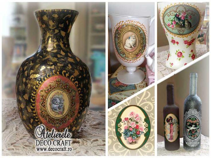 Hartie pentru Decoupage - obiecte realizate la Atelierele de creativitate Deco Craft http://www.decocraft.ro/ateliere-creativitate/