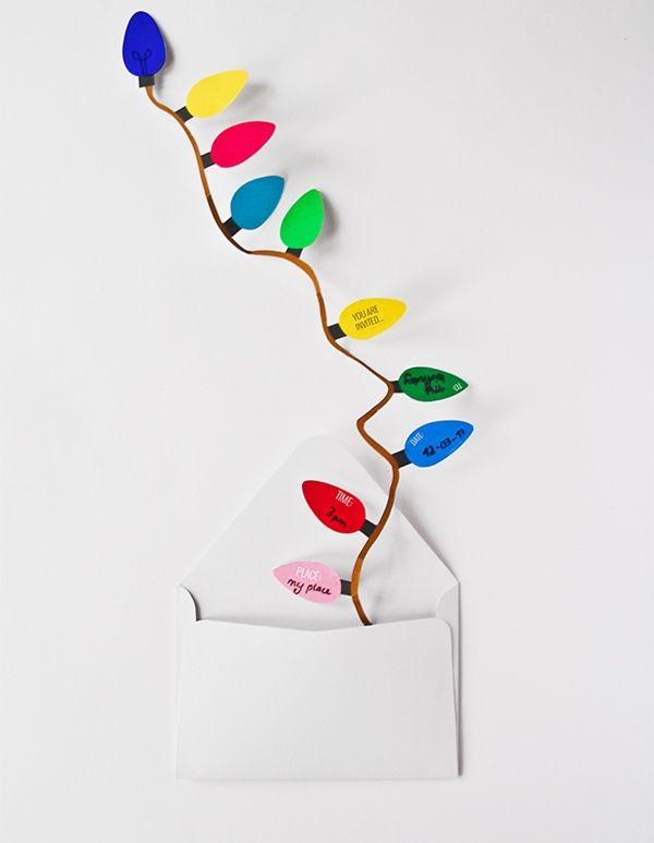 Invitaciones originales para fiestas con guirnalda de bombillas DIY