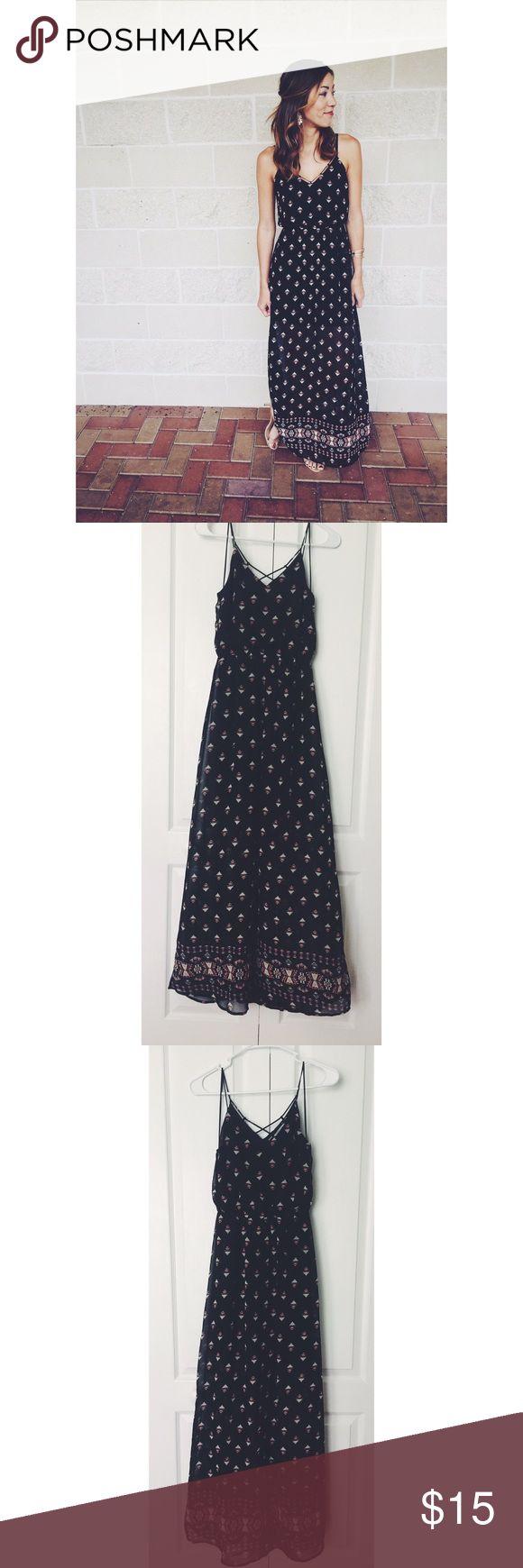 Sierra Sky Black Tribal Maxi Dress Sierra Sky Black Tribal Maxi Dress | Gently Used | Sheer Overlay | Size XS Sierra Sky Dresses Maxi