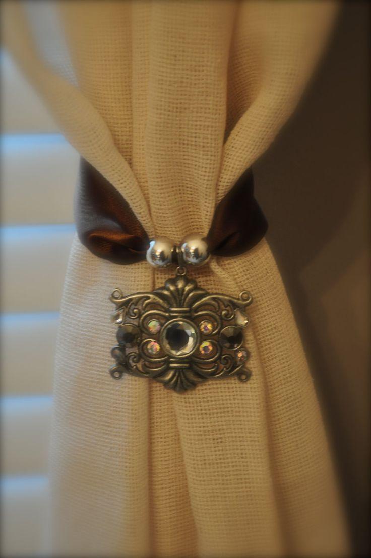 Chocolate Crystal Curtain Tie Backs. $18.00, via Etsy.