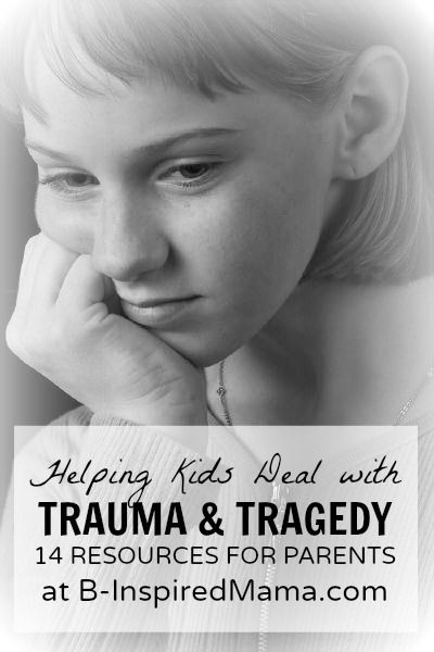 Have you talked with your kids about the recent Newtown school shooting tragedy?  Do you plan to?  Here are 14 resources to help children deal with such trauma and tragedy. B-InspiredMama.com