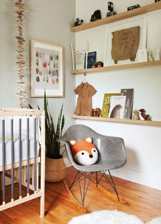 Eclectic nursery - good example of gender neutral colour scheme.