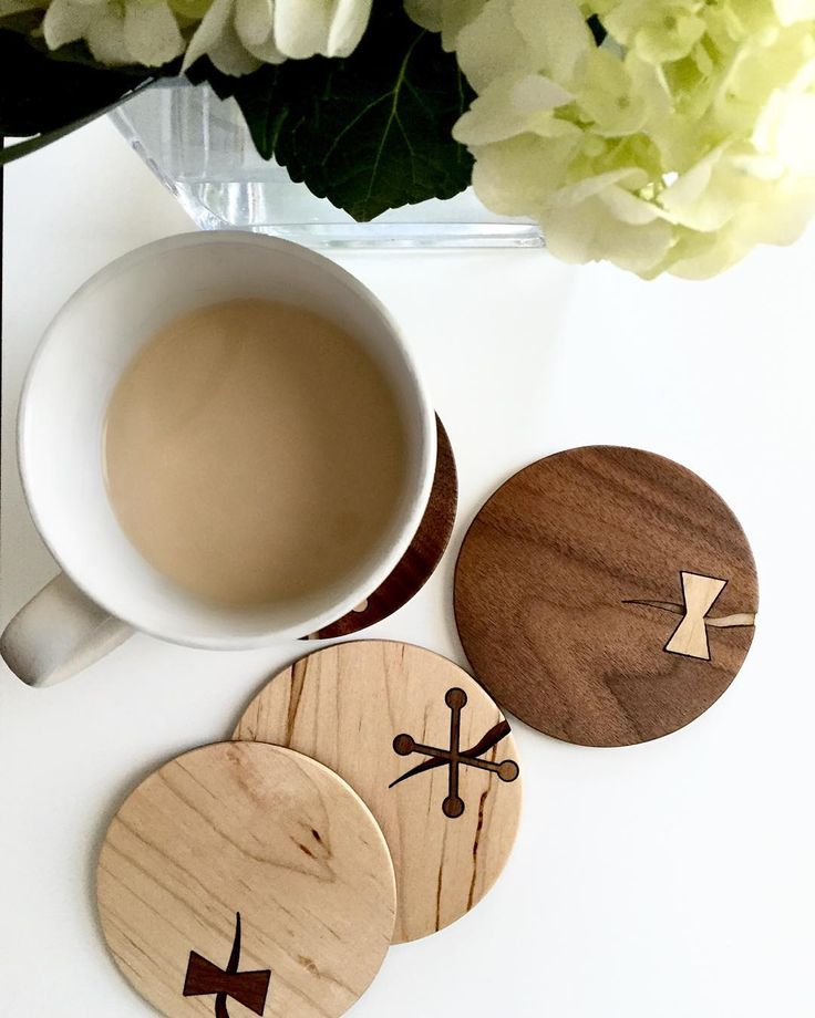 Finish product! Reversible coasters. Pick your side! #coasters #wood #blackwalnut #maple #lasercut #laser #productdesign #handcrafted #woodworking. : by @veronicapgh by rodaworkshops