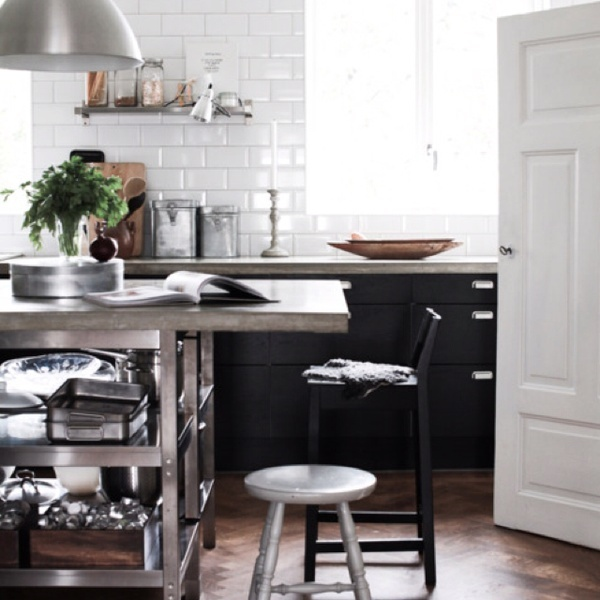 black & white industrial kitchen