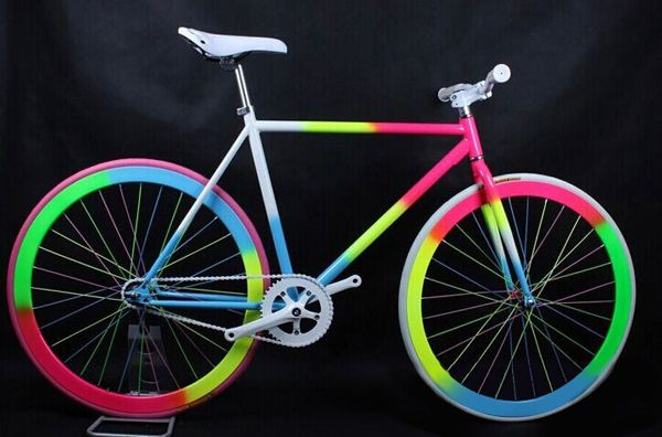 Rainbow fixied gear bike single gear bikes with flip flop hub ...