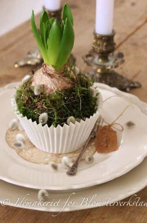 Zo simpel en zooo leuk! Borden, cupcakebakje, hyacintbol, knopjes van wilgenkatjes, beetje mos en klaar! Hierbij kan je je fantasie lekker de vrije loop laten. Door Margies
