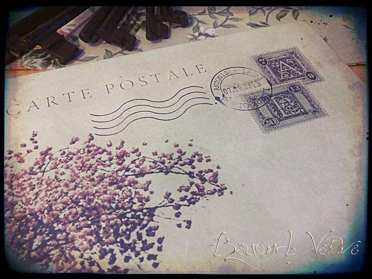 Carte postale guestbook / wishbook - Cherry tree - Vintage wedding stationery - Beyond Verve