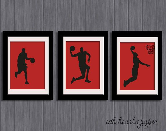 Set Of 3 Boys / Teenagers Room Wall Art   Basketball Players Slam Dunk