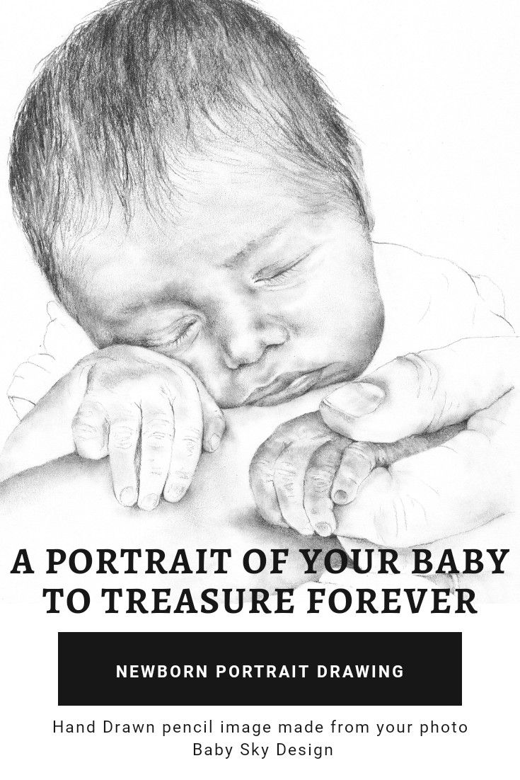 Newborn baby portrait pencil drawing customised and