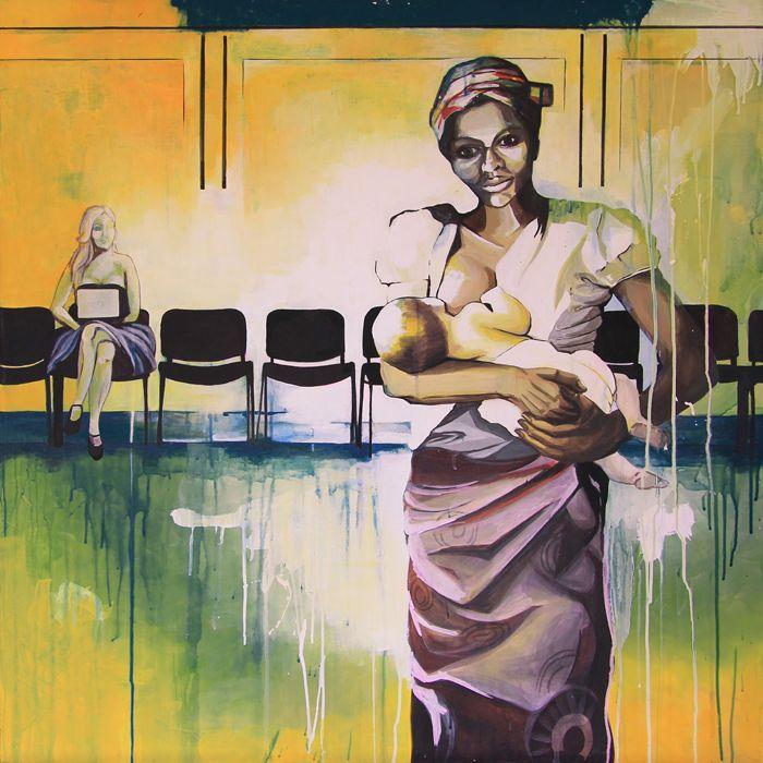 GaeTano and Valentina, LES DEMOISELLES AVEC UN ENFANT, © 2013, acrylic on canvas, 100 x 100 cm.  #pittura #art #painting #arts #GaeTanoAndValentina #AcrylicOnCanvas #scenographTwoArt #SCENOGRAPH2ART #GaeTanoeValentina #visualart #canvas #sem #acrylic #peinture #ceruleo #dipinti #monza #italy