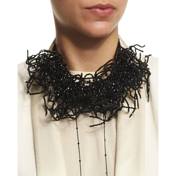Brunello Cucinelli Beaded Seaweed Choker Necklace (€3.360) ❤ liked on Polyvore featuring jewelry, necklaces, black, leather necklace, black leather necklace, black jewelry, beading necklaces y bead necklace
