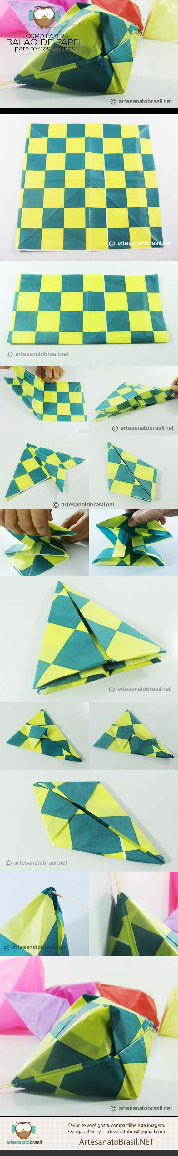 Como fazer Balão de festa junina com papel de seda - paper balloon origami lantern for party decorations, balloon decoration for world cup