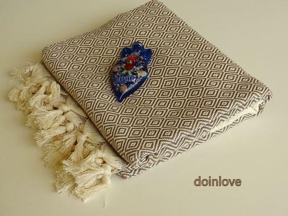 Brown colour Turkish peshtemal soft cotton bath towel beach