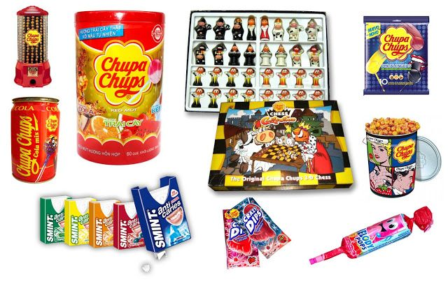 "During the 90´s the company also adopted a diversifiying strategy, launching to the market new products. The company knew the great value of its brand ""Chupa Chups"" worldwide and discovered another business different of producing and selling just candies: the licensing. In this way, Chupa Chups created a own licensing department to exploit its well-known brand putting it on t-shirts, folders, pens, glasses, perfumes, board games, toys..."