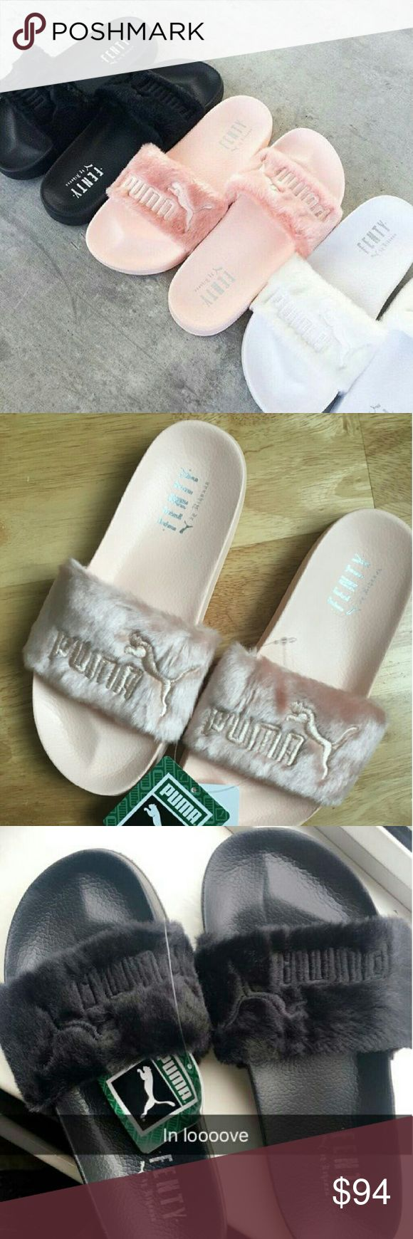 Rihanna Puma FENTY Slippers ✔✔MAKE AN OFFER✔✔ I HAVE A MAGIC NUMBER!!! IF YOU MAKE AN OFFER AND IT GETS DECLINE YOU WERE TOO LOW   Available in pink, black, and white Comes with dust bag  Popular shoes currently right now Please allow 7 to 10 days  Please indicate which color pink, black, or white $70.00 on website   Www.msteeboutique.com Puma Shoes Slippers